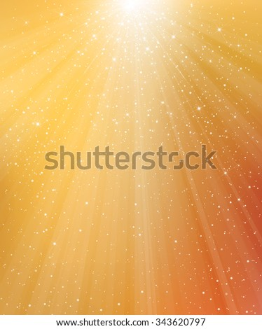 Vector golden background with lights and stars.  - stock vector