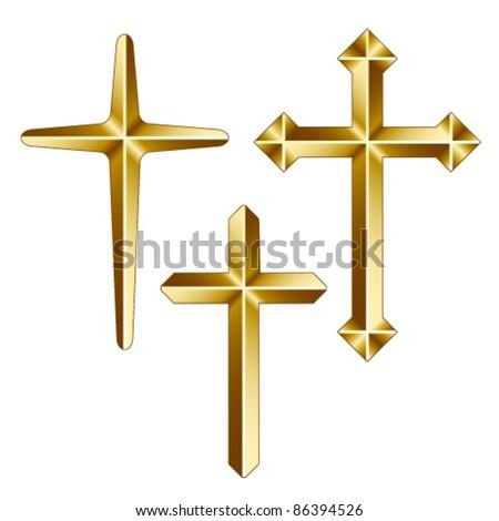 vector golden christian crosses - stock vector