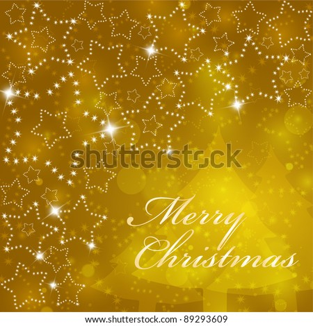 Vector golden christmas background with shining stars(eps10) - stock vector