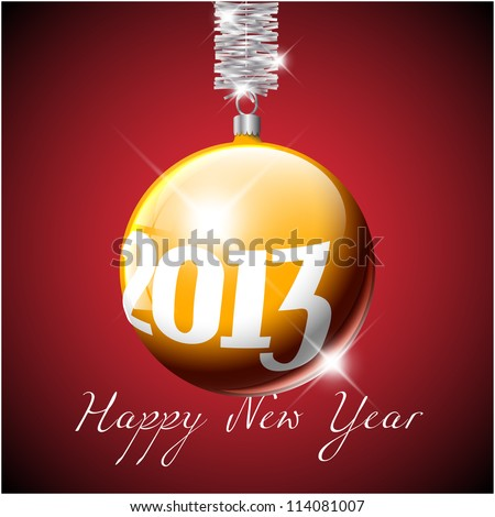 Vector golden Christmas realistic bauble with the numbers of new year 2013 - stock vector