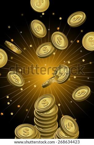 Vector Golden Coin Falling - stock vector
