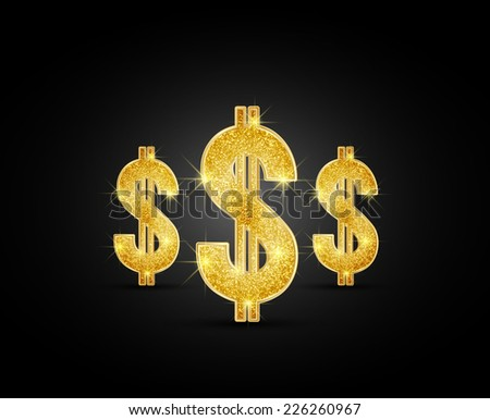 Vector golden dollar on the black background - stock vector