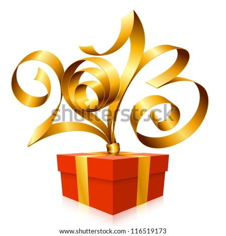 Vector golden ribbon in the shape of 2013 and red gift box. Symbol of New Year - stock vector