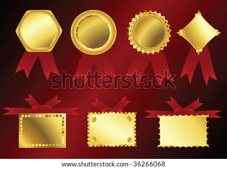 Vector golden ribbons on red velvet background - stock vector