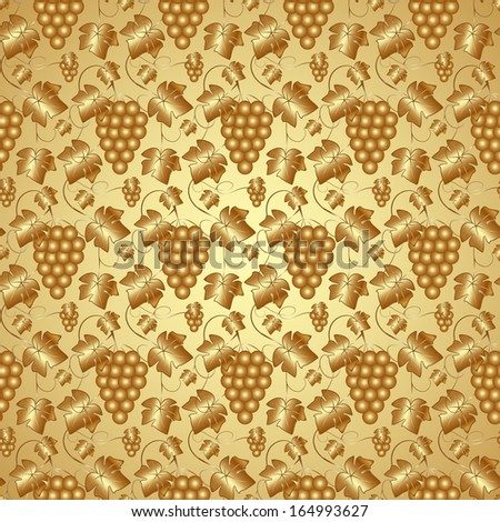 Vector Golden Seamless Pattern Background with Grapes and Leaves - stock vector