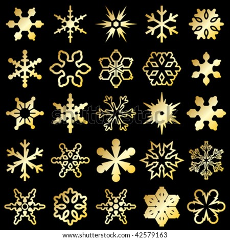 vector golden snowflakes isolated on black background - stock vector
