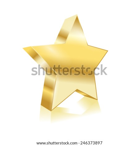 vector golden star element - stock vector