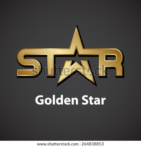 vector golden star inscription icon - stock vector