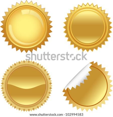 vector golden starbursts set 1 - stock vector