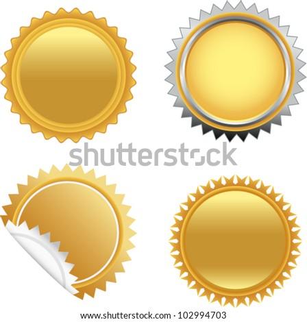 vector golden starbursts set 2 - stock vector