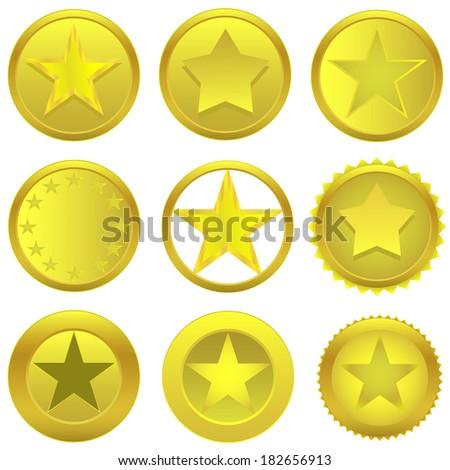 Vector golden stars set on the white background. - stock vector