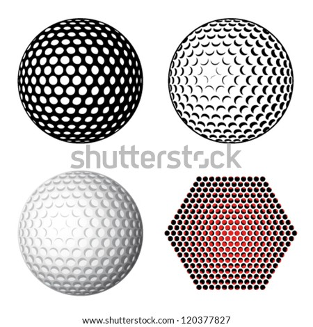 vector golf ball symbols - stock vector