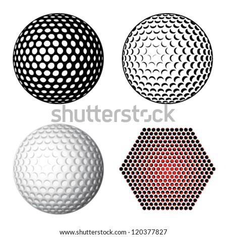 vector golf ball symbols - stock vector