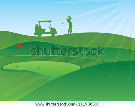 Vector Golf Course Hills Background with a Golfer and Cart in the Distance - stock vector