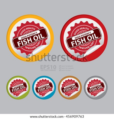 Vector : Good Health High Potency Fish Oil 100% Natural Infographics Icon on Circle Peeling Sticker  - stock vector