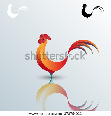vector gradient rooster logo sign icon - stock vector