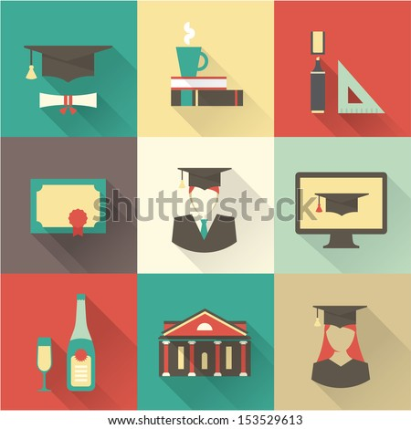 Vector graduation set - stock vector