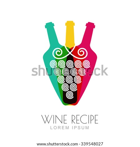 Vector grape vine and wine bottles, negative space logo design template. Colorful trendy illustration. Concept for wine list, bar menu, alcohol drinks, wine label, grape wine recipe. - stock vector