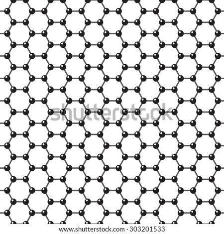 Vector graphene flat icon. Science illustration. Seamless pattern - stock vector