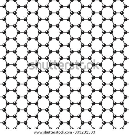 Vector graphene flat icon. Science illustration. Seamless pattern - stock vector