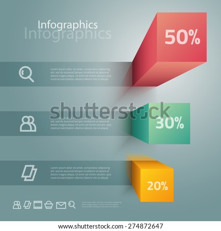 Vector graphic abstract info-graphics with icons in vibrant colors - stock vector