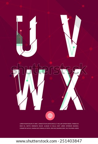 Vector graphic alphabet in a set. Contains vibrant colors and minimal design on a velvet abstract background. - stock vector