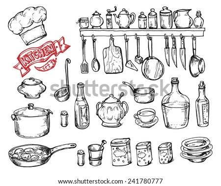 Vector graphic, artistic, stylized set for design Kitchen - kitchen objects - stock vector