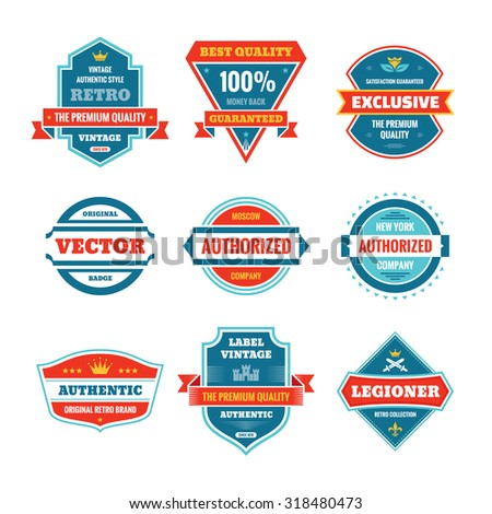 Vector graphic badges collection in flat style design. Original vintage badges. Creative logo vector set. Vector retro labels collection. Design elements. - stock vector