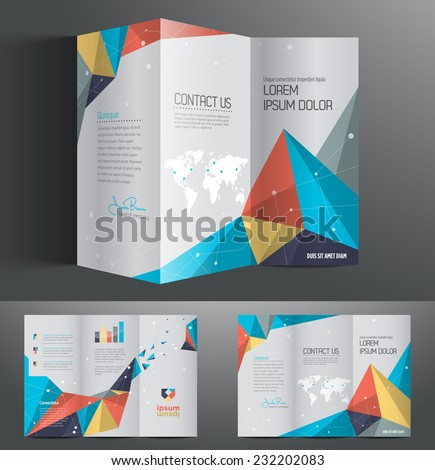 Vector graphic colorful abstract polygon professional business brochure design for your company - stock vector