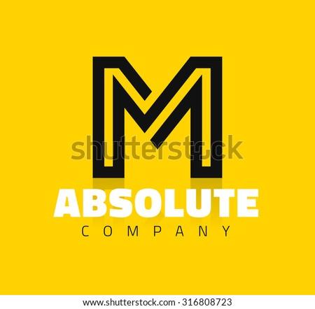 Vector graphic creative line alphabet symbol / Letter M - stock vector
