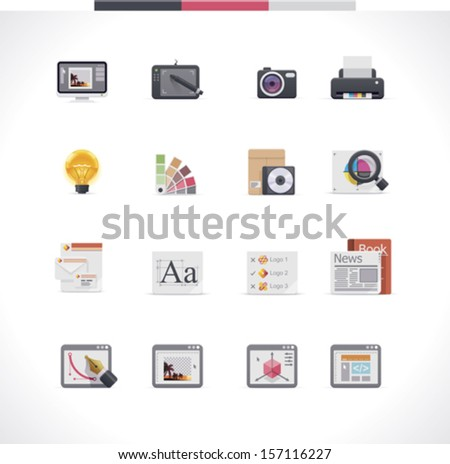 Vector graphic design and publishing icon set  - stock vector