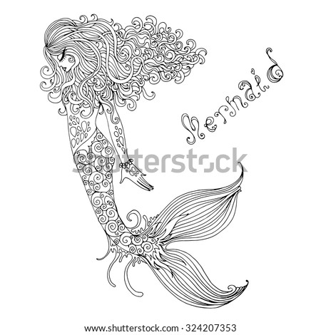 Vector graphic drawing  fairy Mermaid with long curly hair. Painted black lines on a white background - stock vector