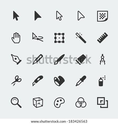 Vector graphic editor mini icons set - stock vector