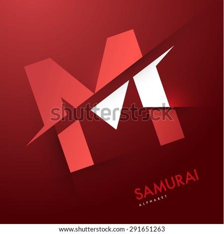 Vector graphic elegant and unique sliced alphabet - Letter M - stock vector