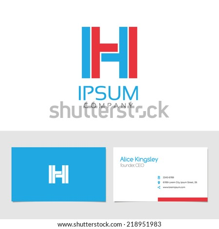 Vector graphic elegant impossible alphabet symbol / identity / business card in two colors / Letter H - stock vector