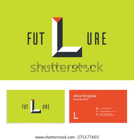 Vector graphic elegant impossible alphabet symbol. Identity, business card in two colors, Letter L. - stock vector