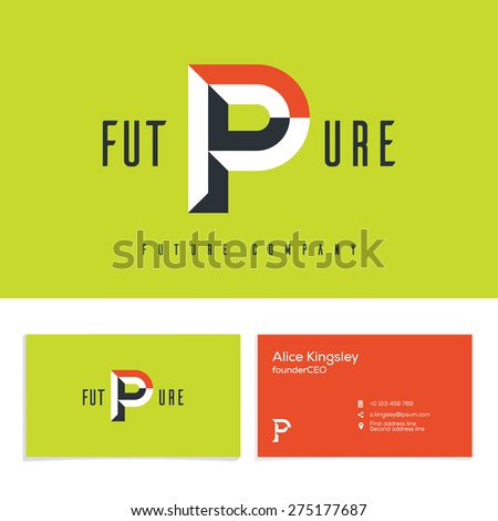 Vector graphic elegant impossible alphabet symbol. Identity, business card in two colors, Letter P. - stock vector