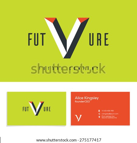 Vector graphic elegant impossible alphabet symbol. Identity, business card in two colors, Letter V. - stock vector