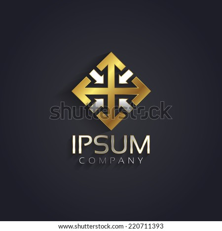 Vector graphic elegant silver and gold symbol for your company with sample text - stock vector