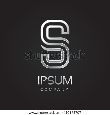 Vector graphic elegant silver font with sample text / symbol / alphabet / Letter S - stock vector