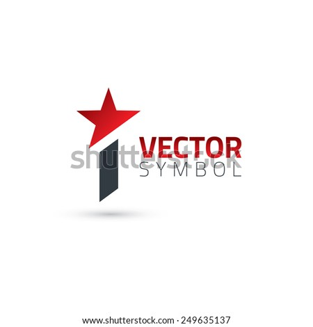 Vector graphic elegant sliced alphabet symbol with star element on top / Letter I - stock vector