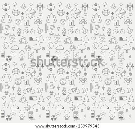 Vector graphic environment and electricity thin line icon pattern - stock vector