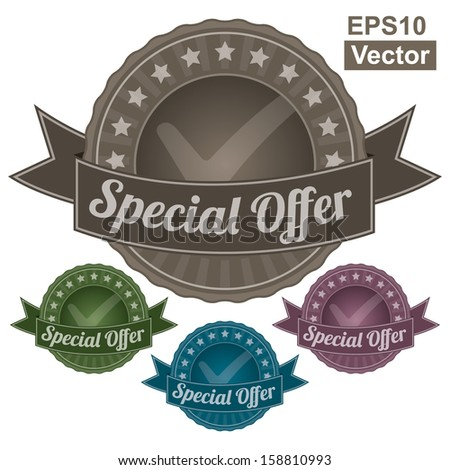 Vector : Graphic For Marketing Campaign, Promotion or Sale Event Present By Colorful Vintage Style Special Offer Icon or Badge Isolated on White Background  - stock vector