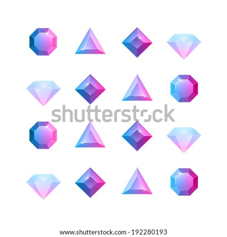 Vector graphic gem illustrations four shapes - stock vector