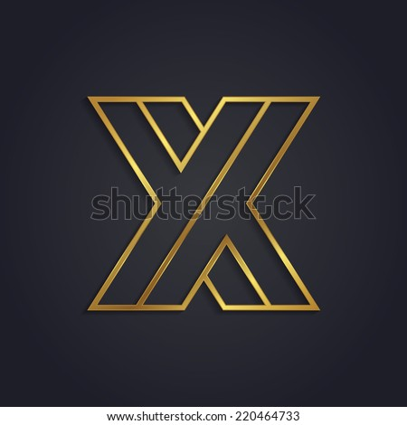Vector graphic gold alphabet / impossible letter symbol / Letter X - stock vector