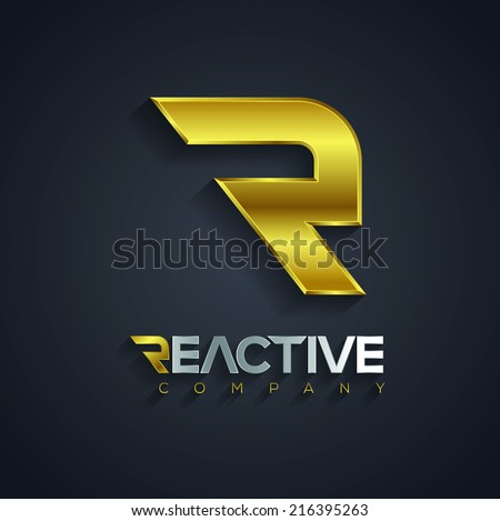Vector graphic golden and silver R letter symbol for your company with Reactive sample type - stock vector