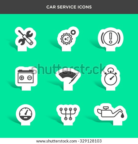 Vector graphic icon set of car service and assistance - stock vector