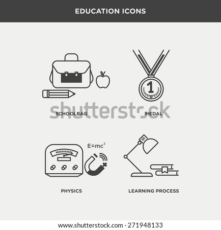 Vector graphic icon set of education and school - stock vector