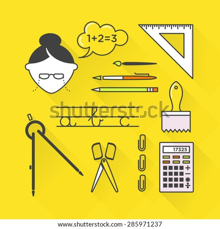 Vector graphic icon set of school and education with long shadow - stock vector