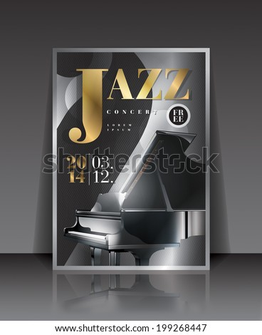 Vector graphic illustration jazz concert poster with piano in silver color - stock vector